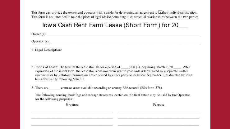 Cash Rent Farm Lease Short Form Library Agrisk Library